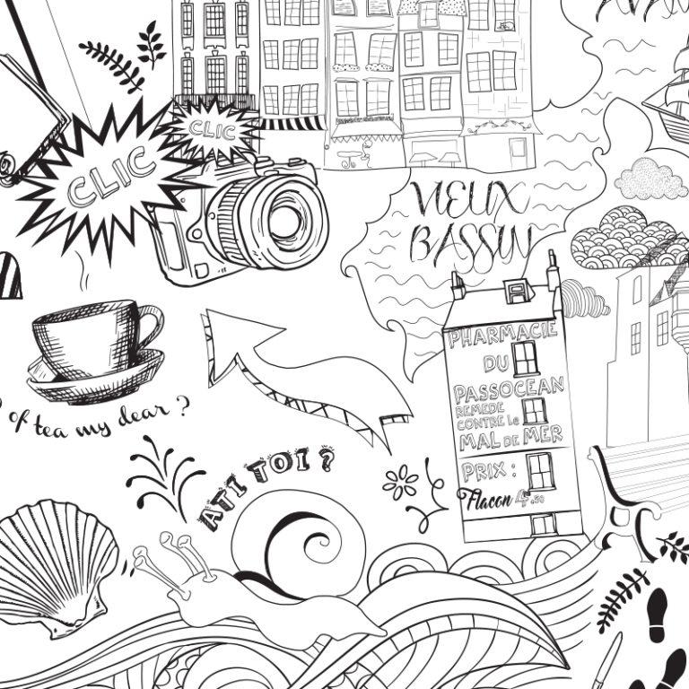 Poster Honfleur à colorier