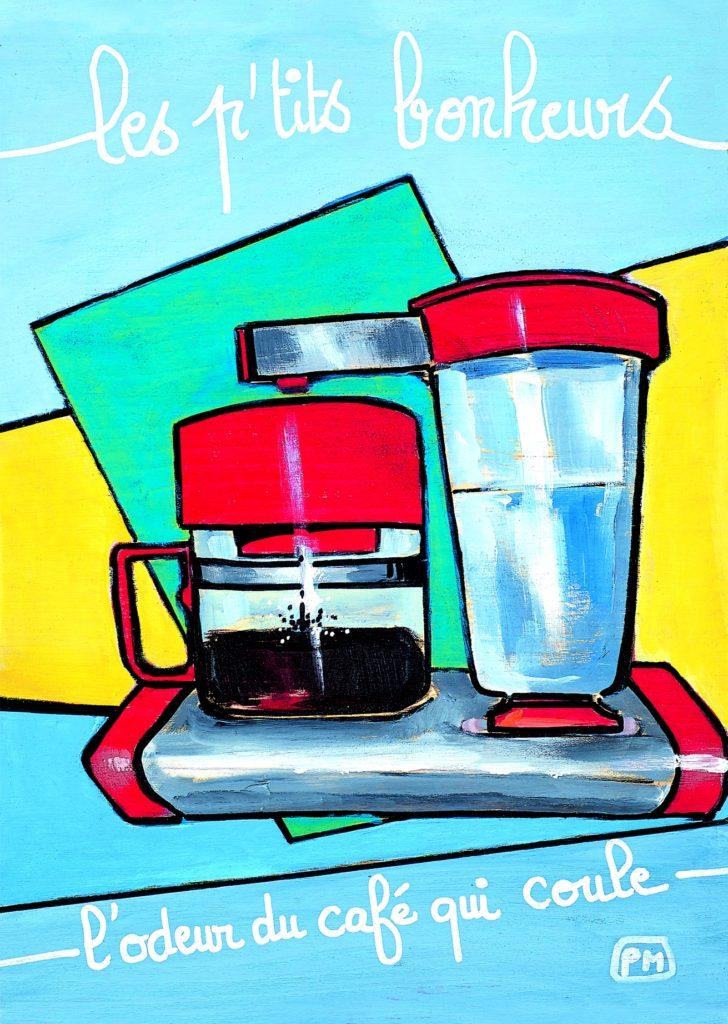Brewing coffee postcard