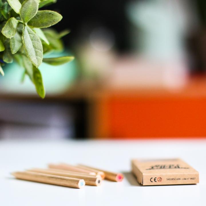 6 Crayons couleur bois