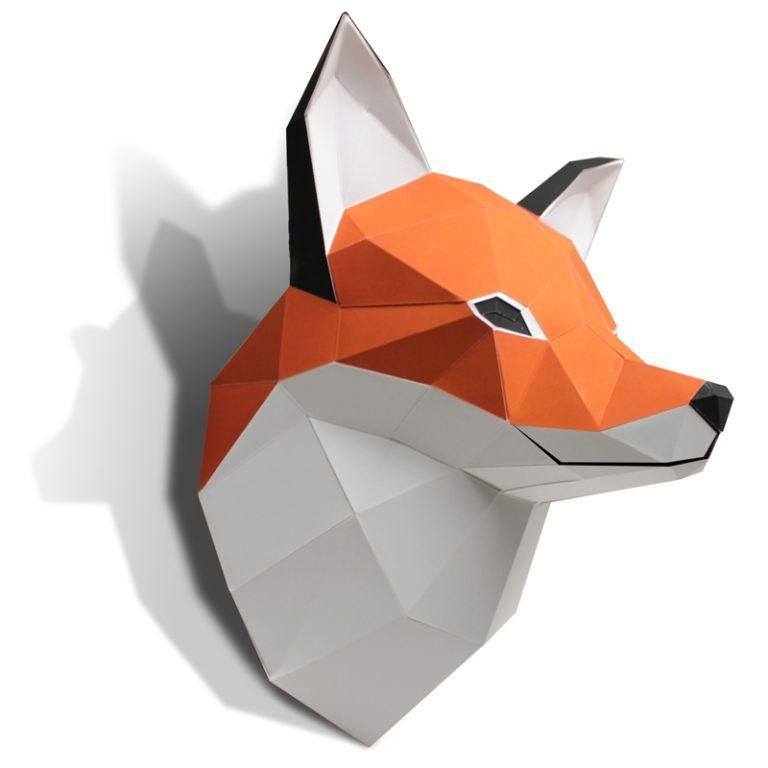 Tête de Renard en papier 3D