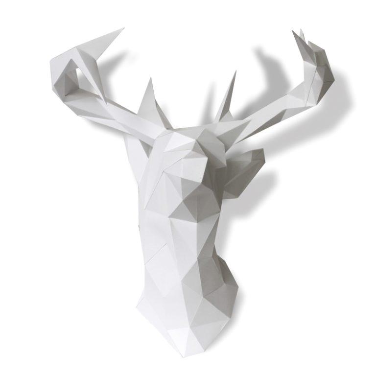 Grand trophée Tête de cerf en papier