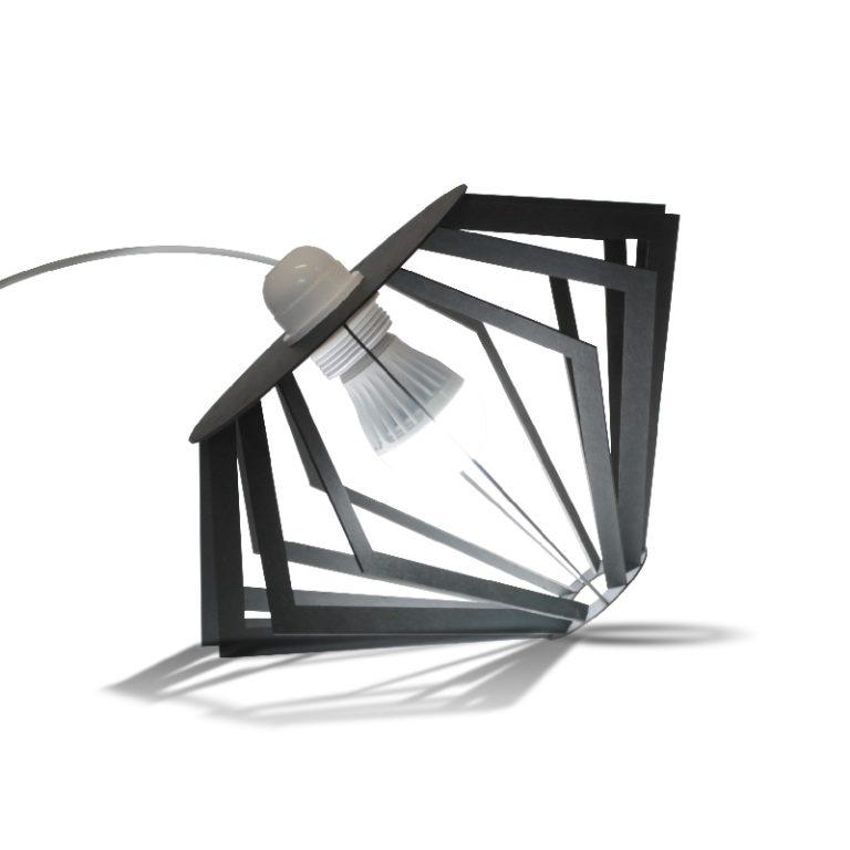 Lampe Pulp en carton noir