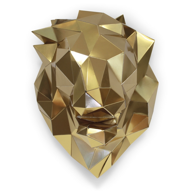 Tête de lion en papier 3d