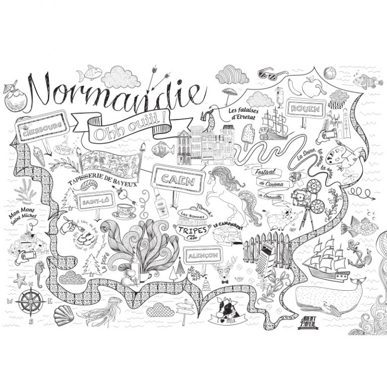 Poster Normandie à colorier