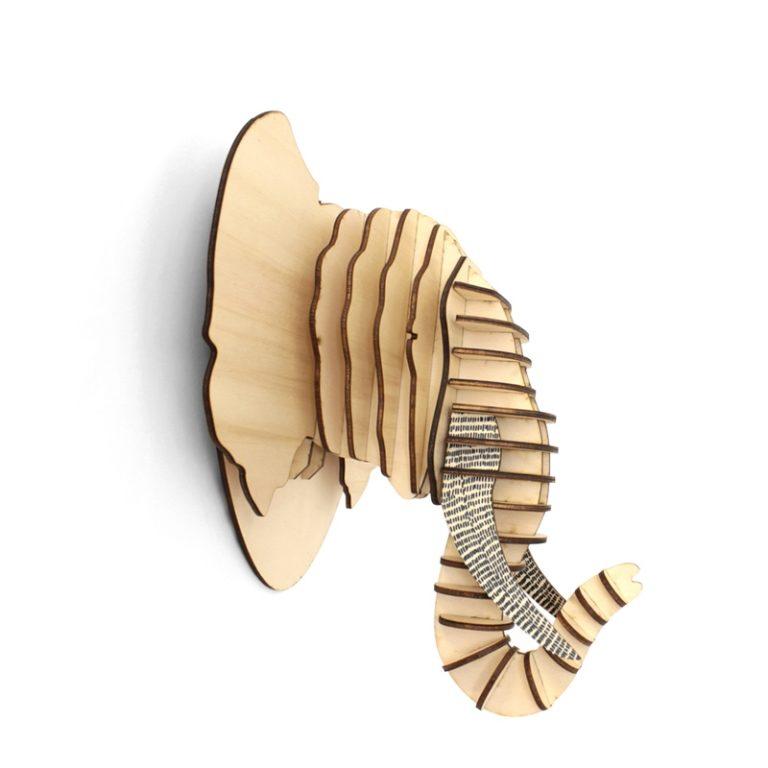 Trophée Elephant en bois