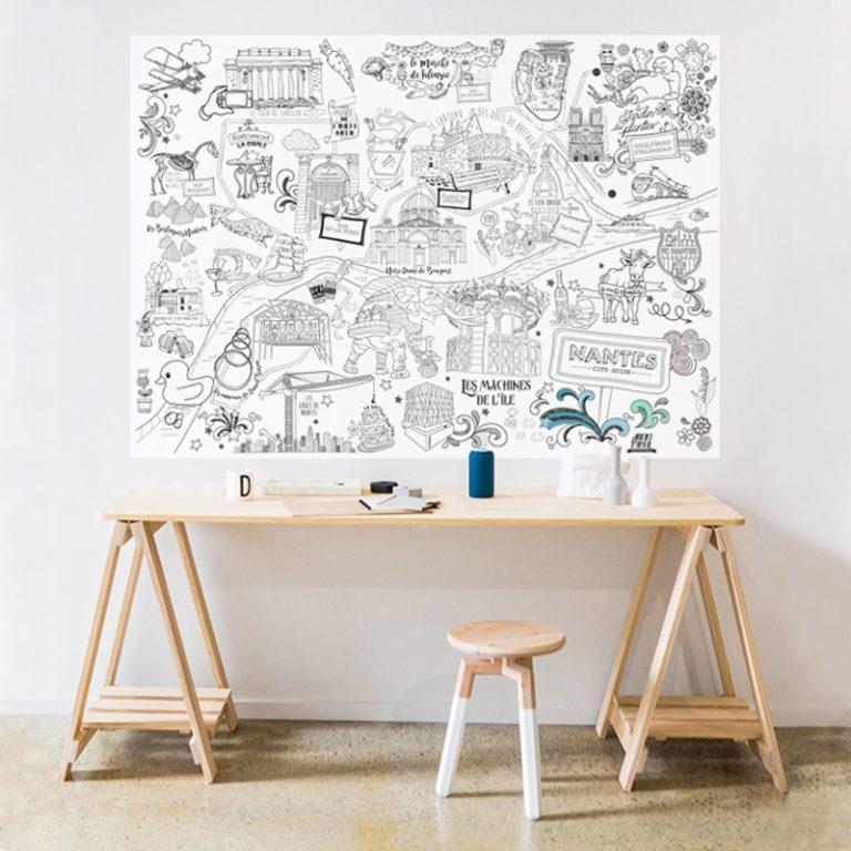 Poster Nantes à colorier