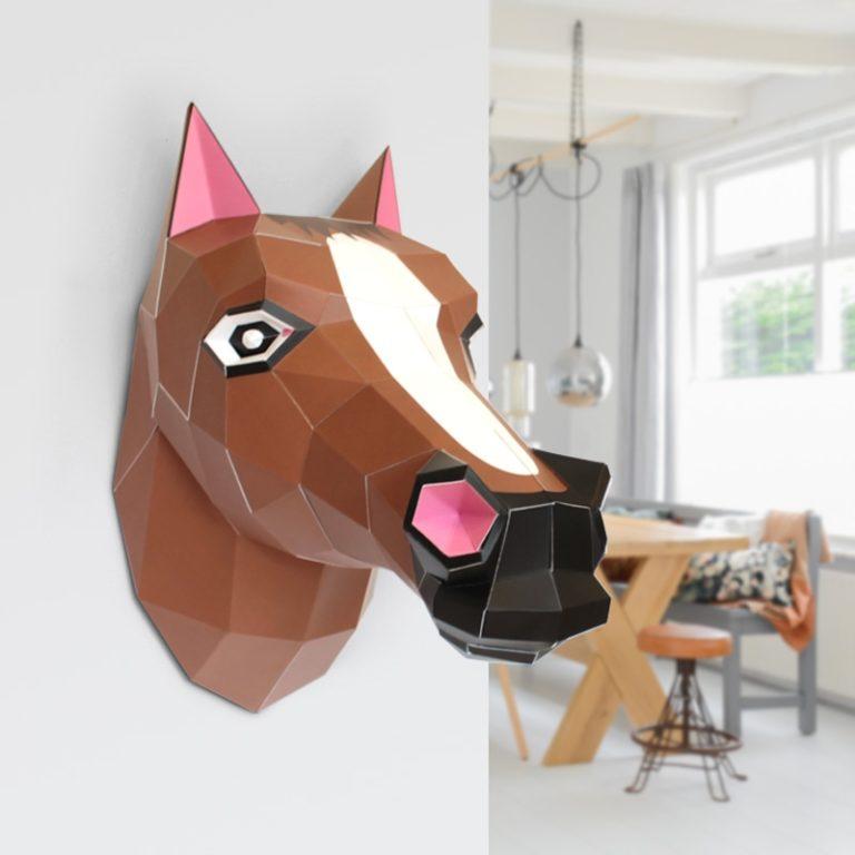 Tête de cheval en papier 3D