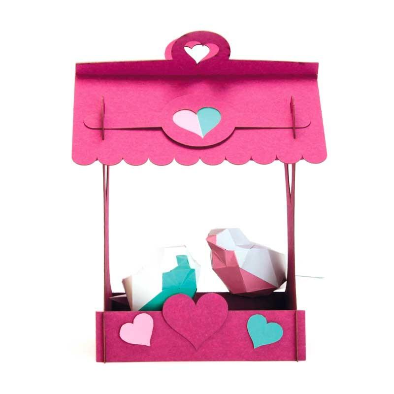 """Oiseaux en papier avec nichoir """"Les amoureux"""""""