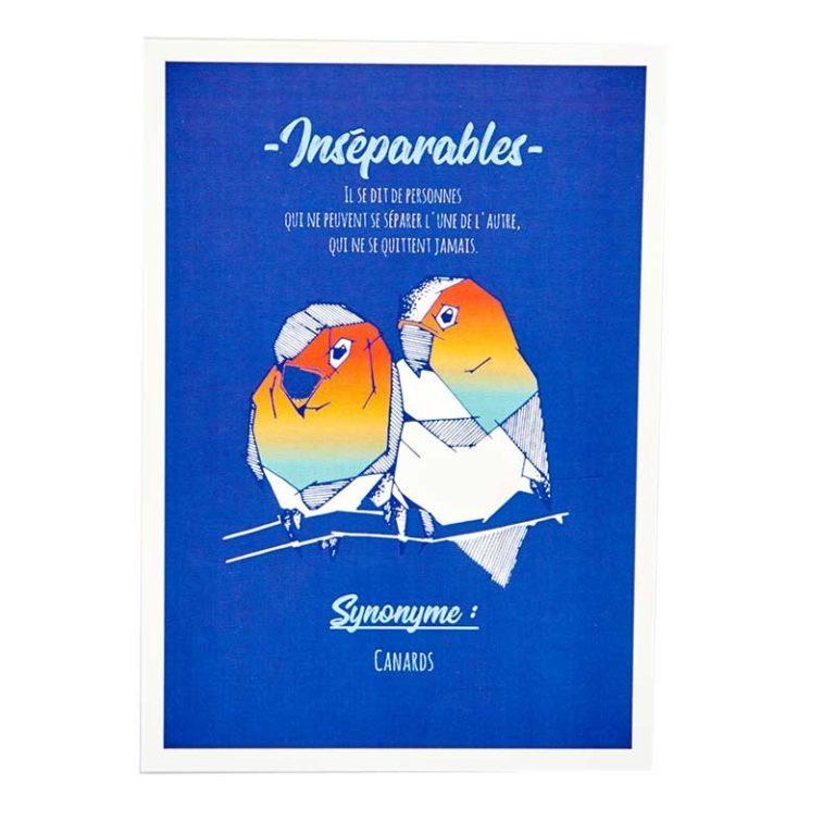 Carte postale Inséparables