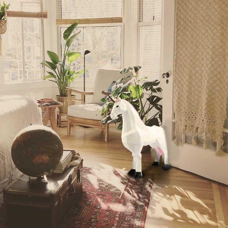 Grande licorne en papier 3D