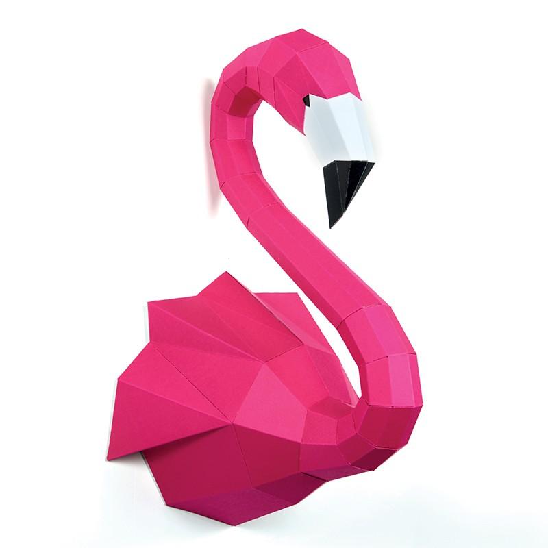 Flamant rose en papier 3D