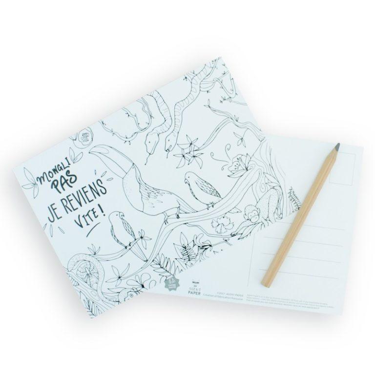 Carte à colorier Mowgli pas