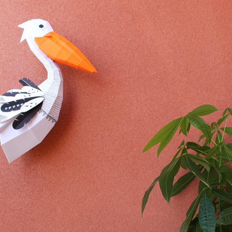 3D paper pelican