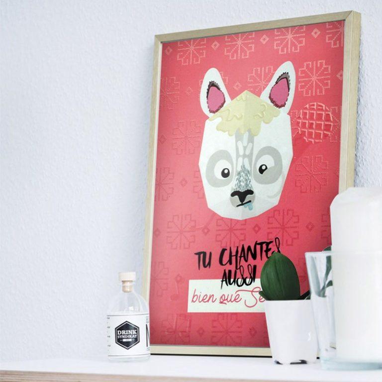 Affiche mini trophée Lama