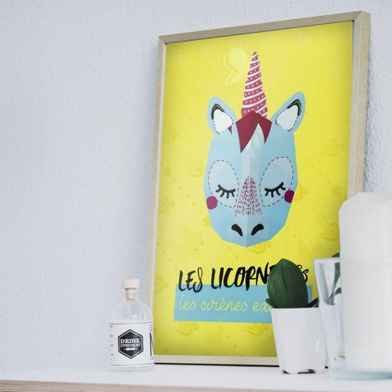 Affiche mini trophée Licorne