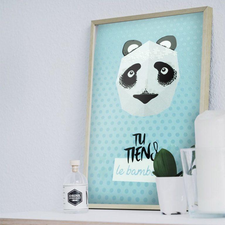 Affiche mini trophée Panda