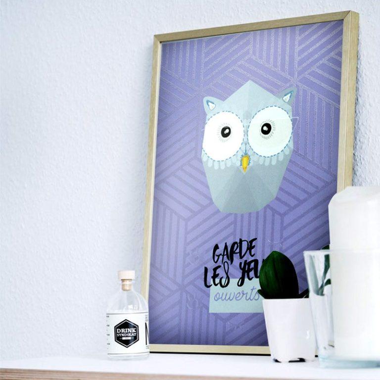 Affiche mini trophée Hibou