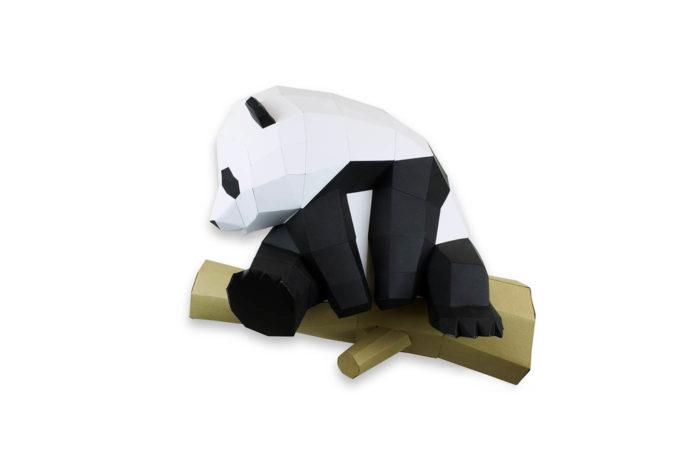 Grand panda sur branche en papier 3D 2 3760271838067