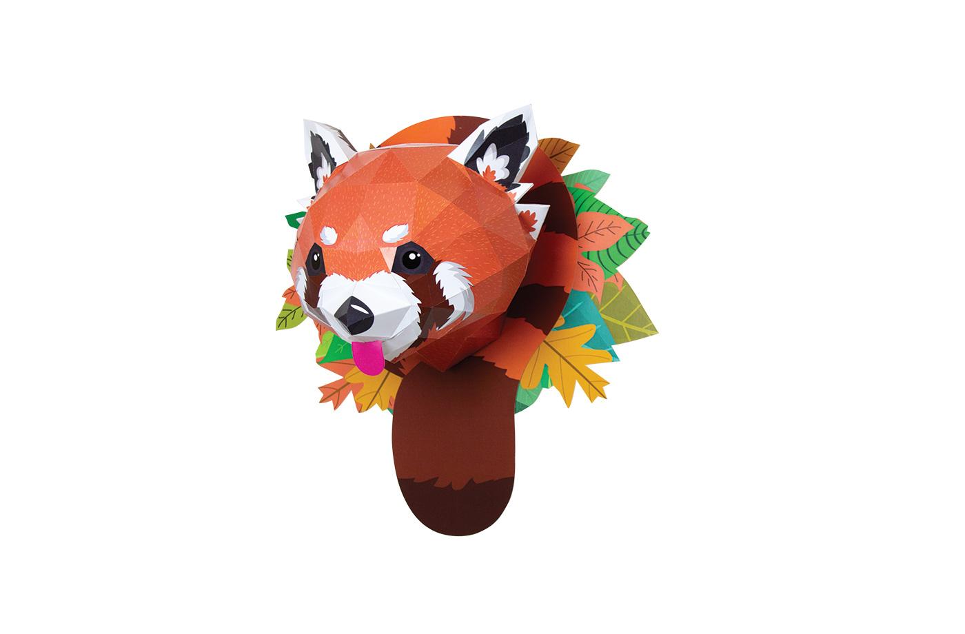 Panda roux en papier 3D 6 3701310201398