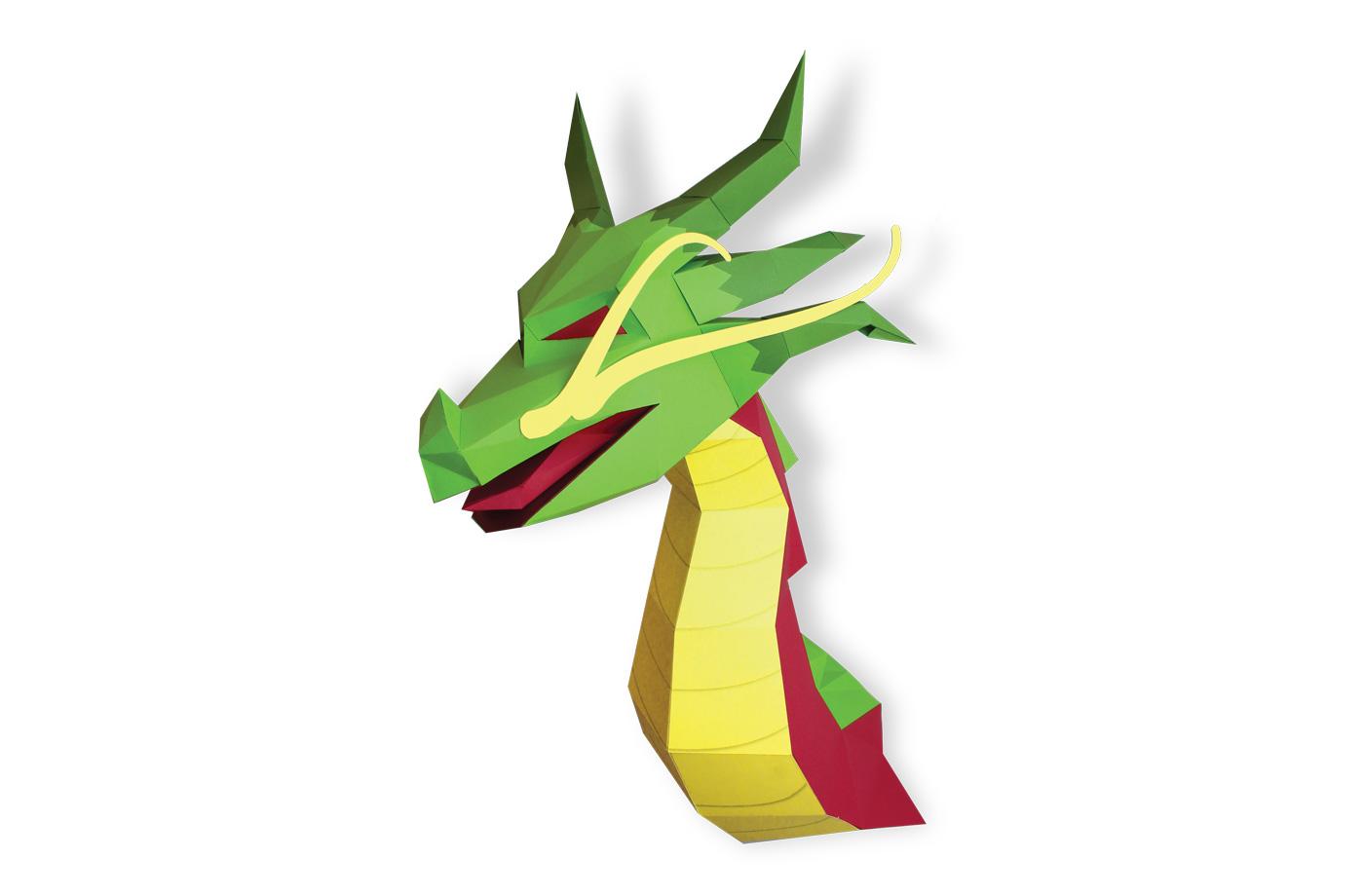 dragon asiatique en papier 3D