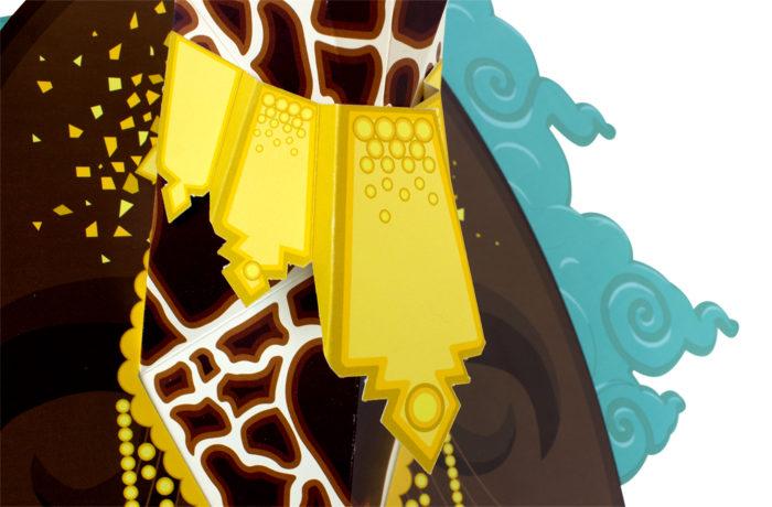 Paper giraffe on cardboard background 3