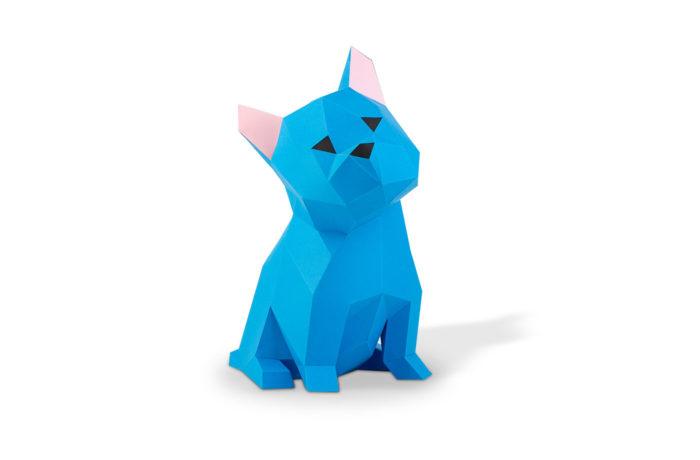 chien bleu en papier