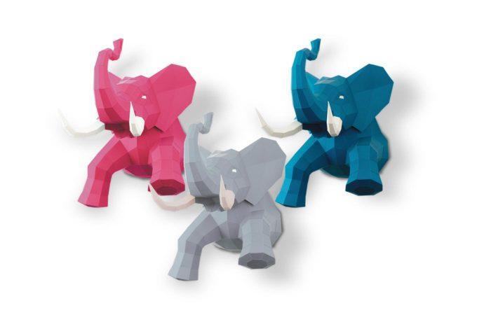 Elephant en papier 3D 2 3701310203729