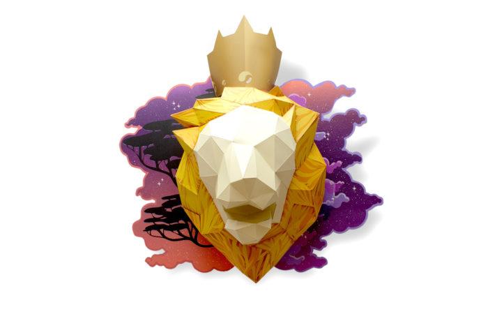 Lion en papier fond de carte 1 3701310203682