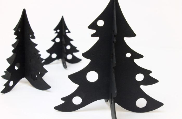 3 Sapins en carton noir 3 3701310203361