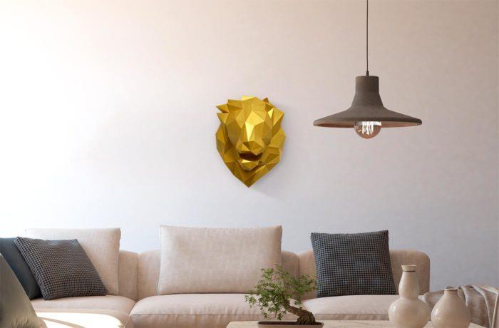 Tête de lion en papier 3d 2 3650049002854