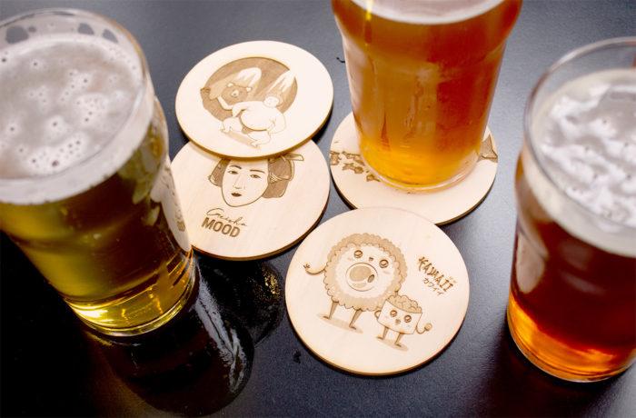 4 Sous verres en bois gravé 2 3701310203736