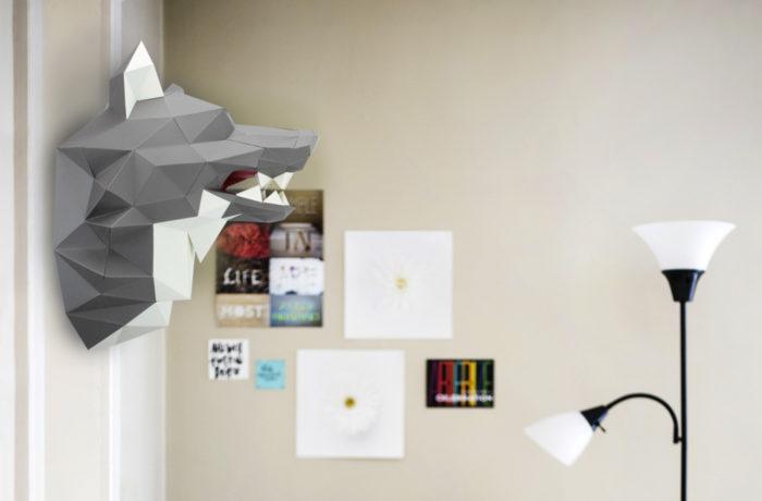 Loup en papier 3d