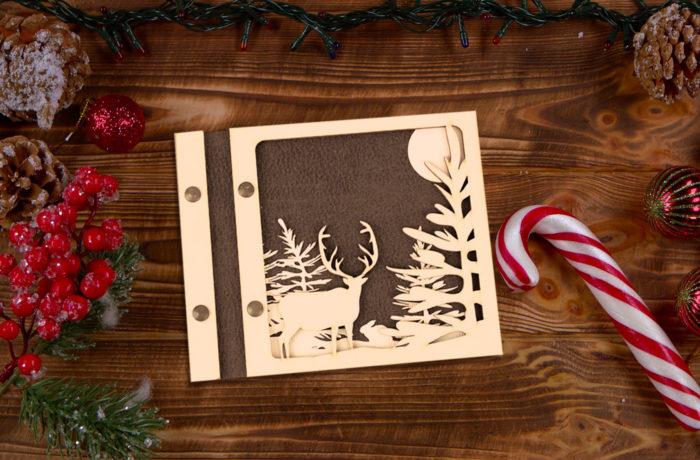 Livre d'or bois et cuir Noël