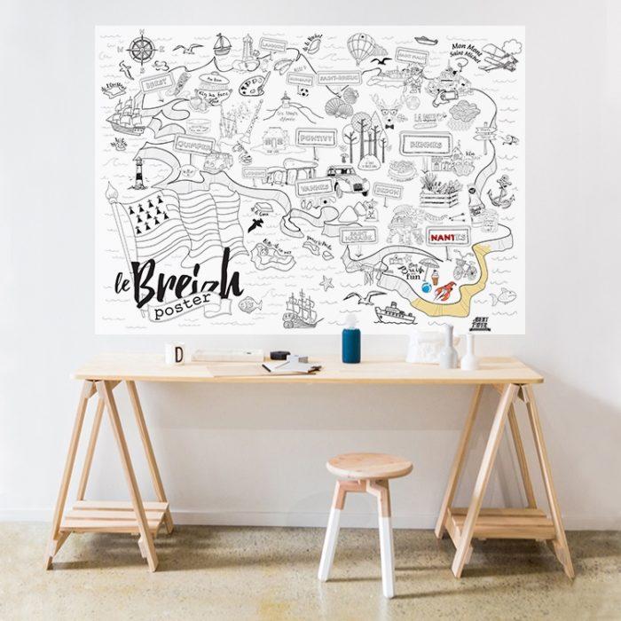 Poster Bretagne à colorier 1200 x 800