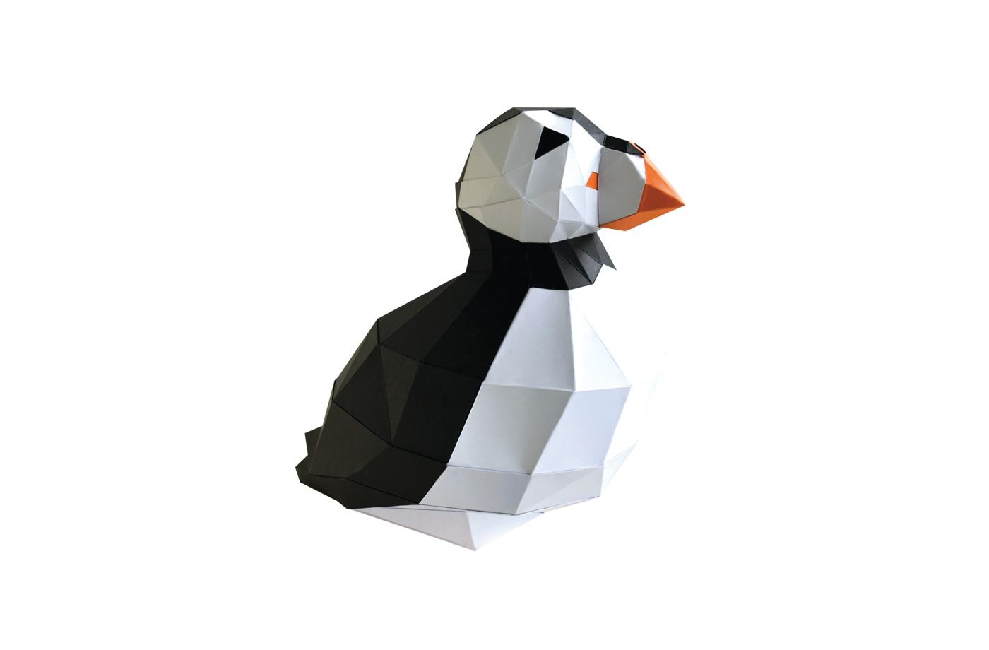 Macareux en papier 3D