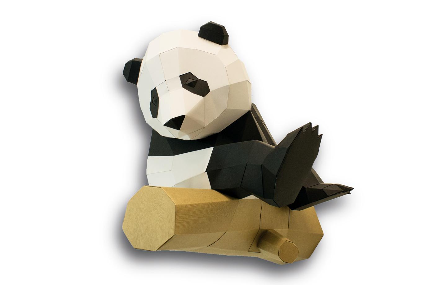 Grand panda sur branche en papier 3D 4 3760271838067