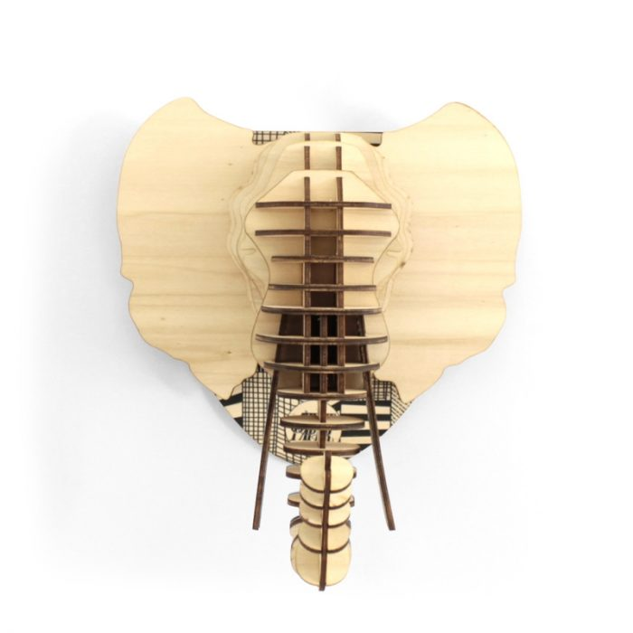 tete de elephant en bois