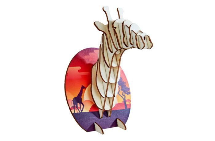 Trophées à poser animaux en bois - girafe