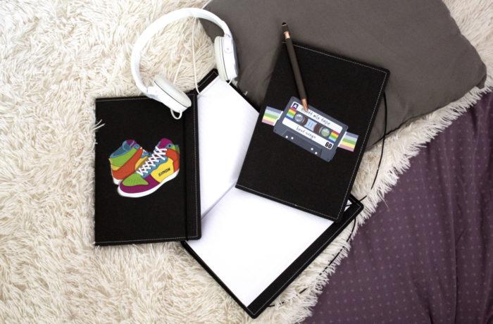 Carnet cuir personnalisé cassette baskette