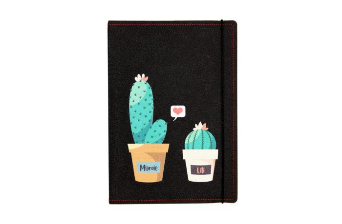 Carnet cuir personnalisé cactus