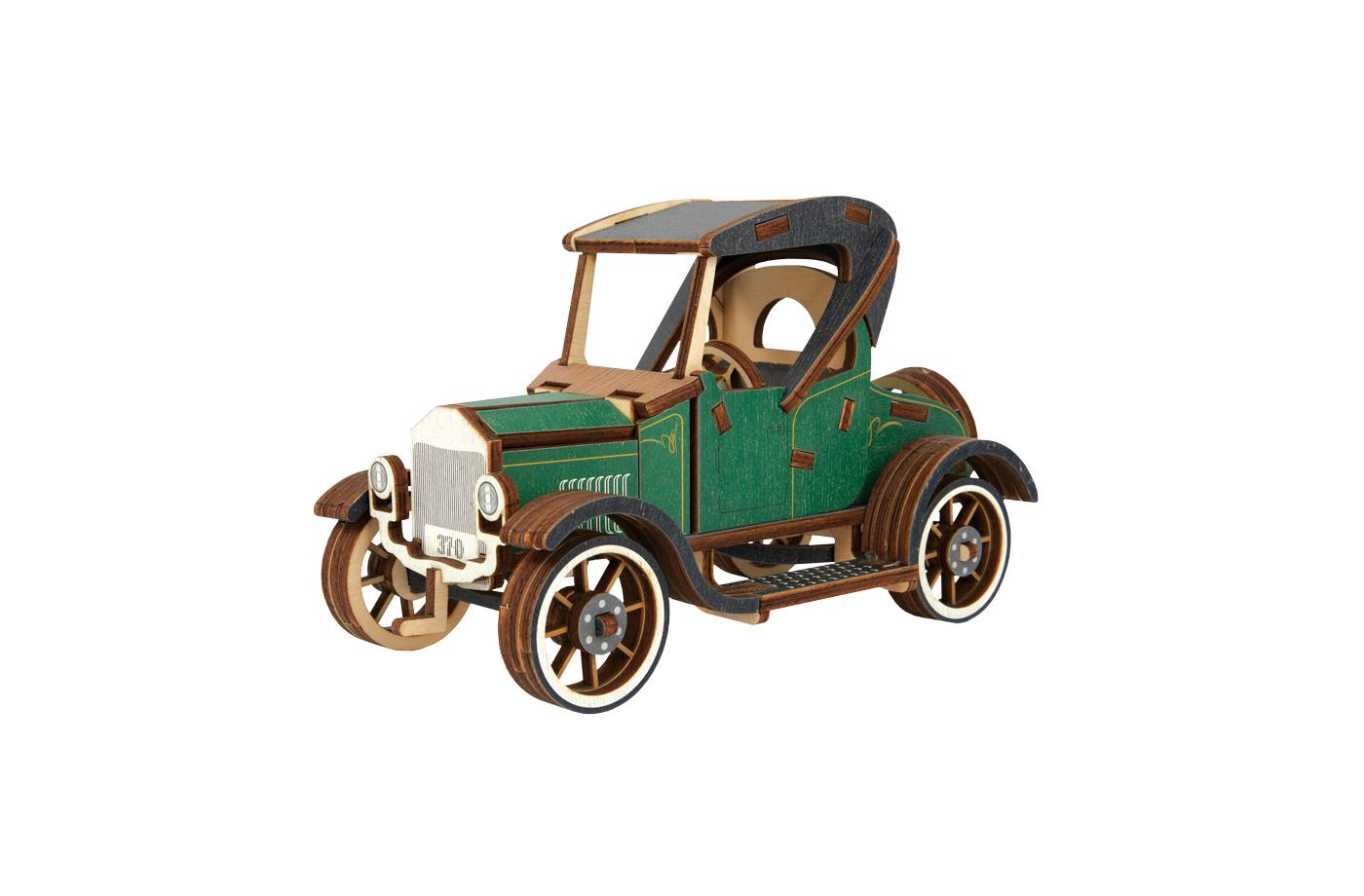 Voiture Ford T vert en bois