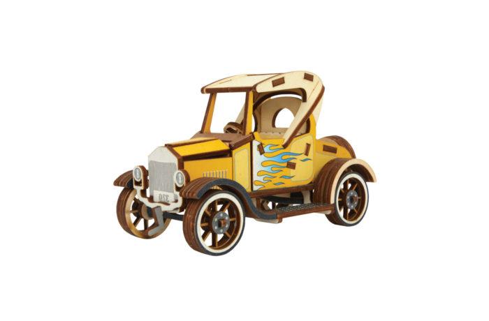 Voiture Ford T jaune en bois