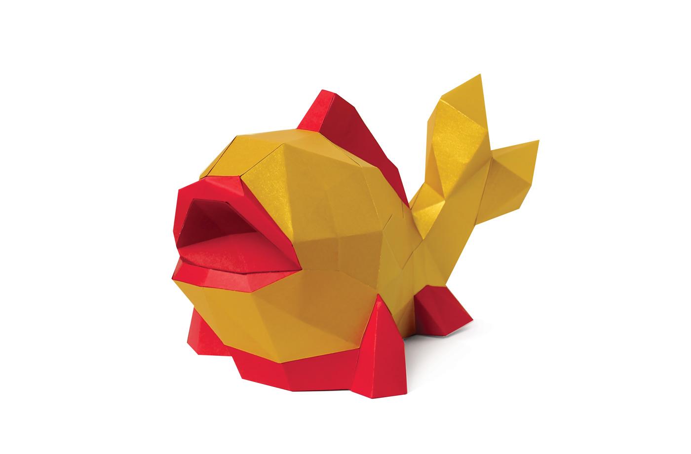 Poisson Or en papier 3D 6 3701310201480