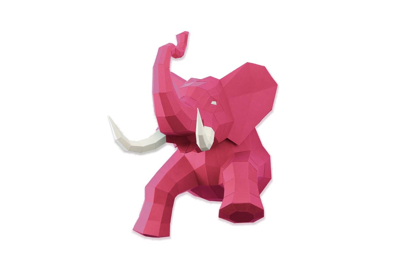 éléphant papier rose