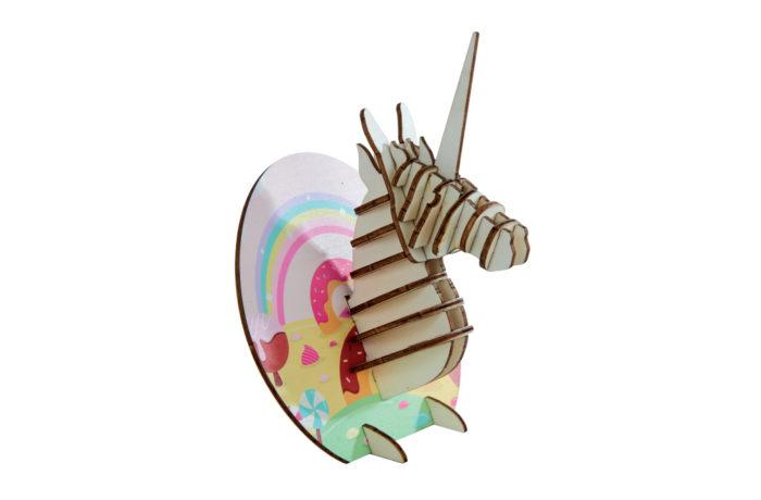 Trophées à poser animaux en bois - licorne