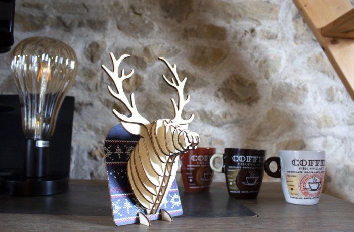 Trophées à poser animaux en bois - Rennes